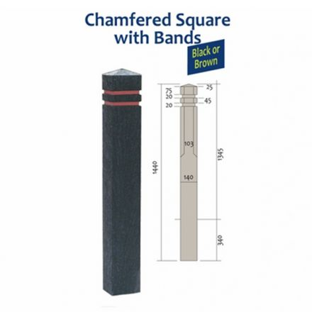 Recycled Plastic Square Bollard with Chamfer Top Banded
