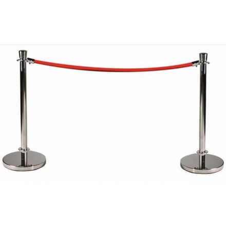 Rope and Pole Silver Pedestrian Barrier
