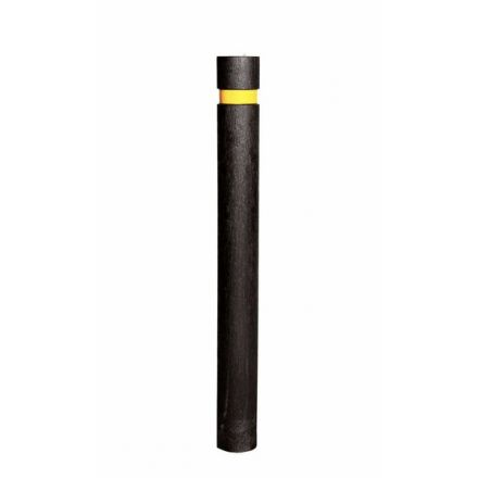 Recycled Plastic Black Round Flat Top Bollard