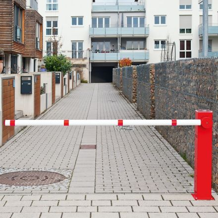 COMPACT Electronic Boom Barrier, Red and White Boom Barrier